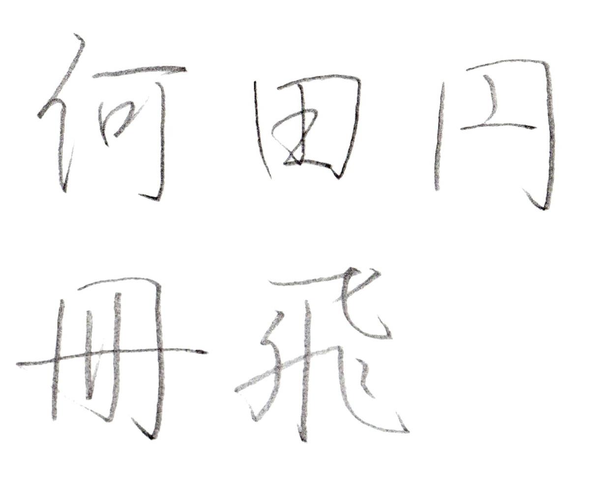 ※『飛・何・田・円・冊』の行書の作例