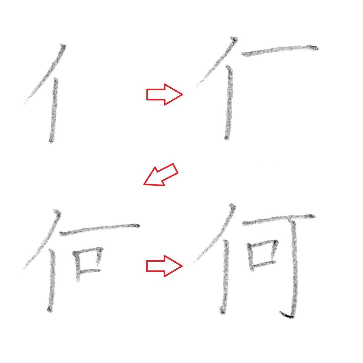 ※漢字『何』の書き順