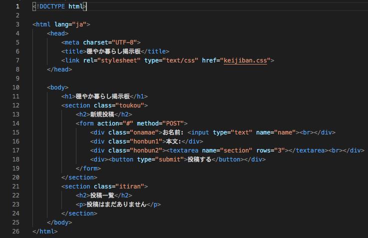 今回作成したHTMLコード